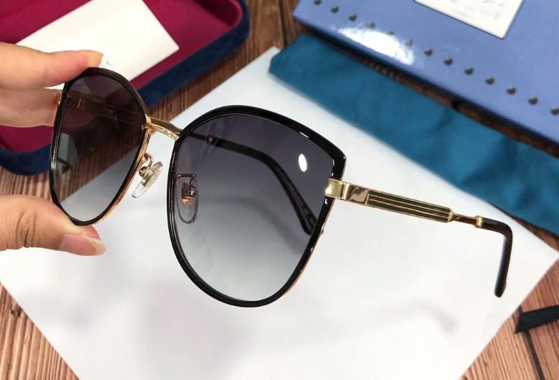 top UV400 gafas protectoras populares estilo de mayor venta 0589 del metal del ojo de gato sencillo marco de las nuevas señoras del diseñador de moda las gafas de sol