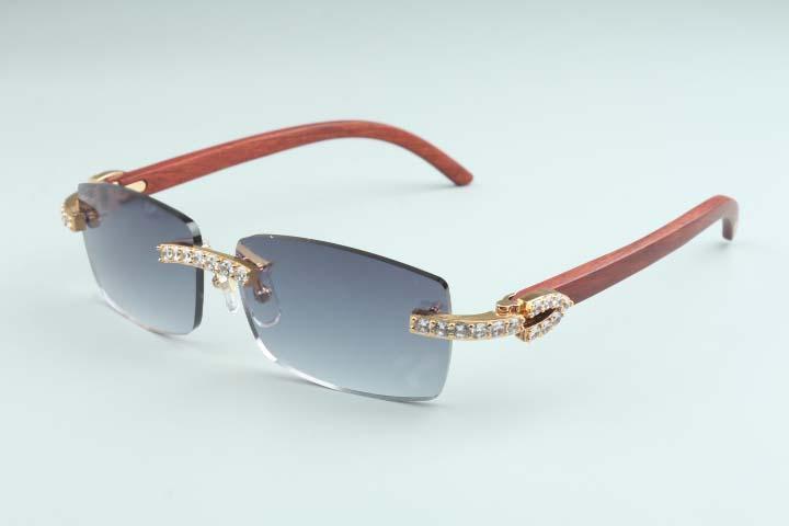 20 novos óculos de sol do templo de madeira de bétula natural 3524012-D6 luxo grande diamante óculos tamanho: óculos de sol 56-18-135mm
