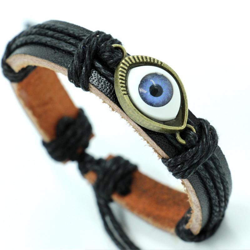 Evil Eye Pulseira Trançada Homens De Couro Genuíno Bangle Unisex Ajustável Preto Cor Marrom Do Vintage Moda Pulseira de Presente Da Jóia para As Mulheres