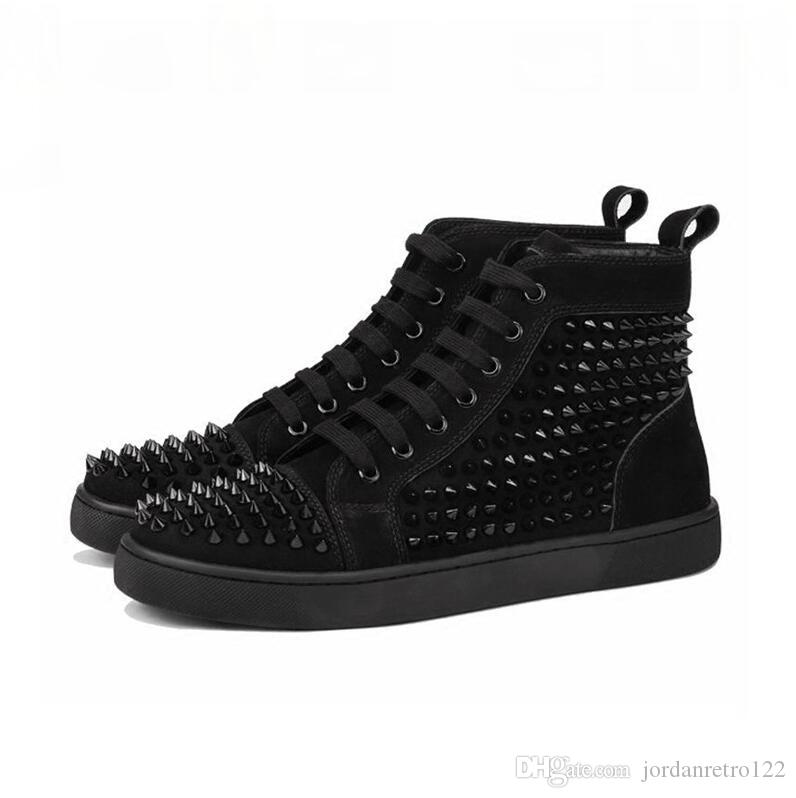 hommes chaussures de marque fond rouge hommes chaussures femmes chaussures de mode suède en cuir brillant noir blanc haut des hauts hommes des appartements de chaussures casual