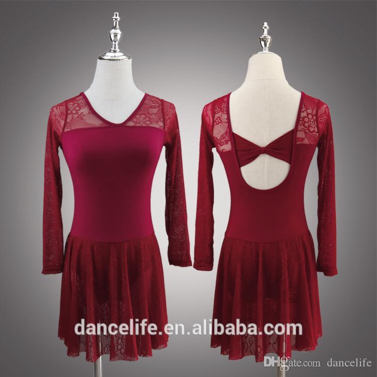 mangas longas adulto rendas vestido da dança ballet branco dança vestido da dança trajes alta trajes de balé A2044