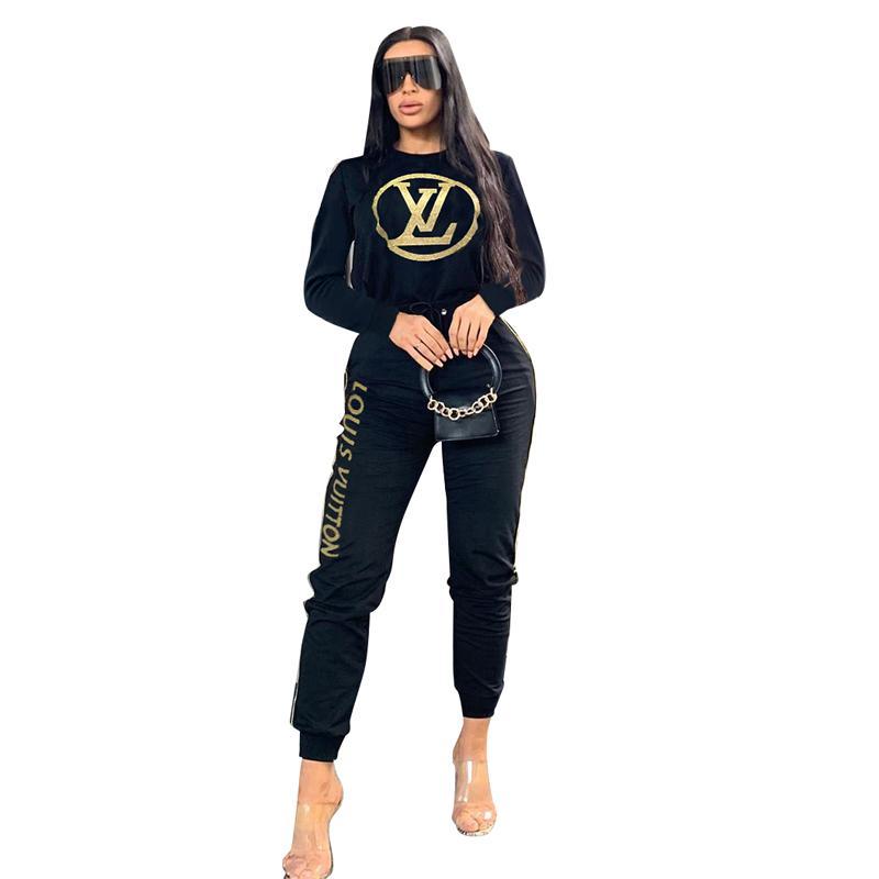 Lettre Casual Imprimer deux pièces Outfit Vêtements femme O manches longues T-shirt et pantalon moulantes molletonnés Casual 2 Piece Survêtement