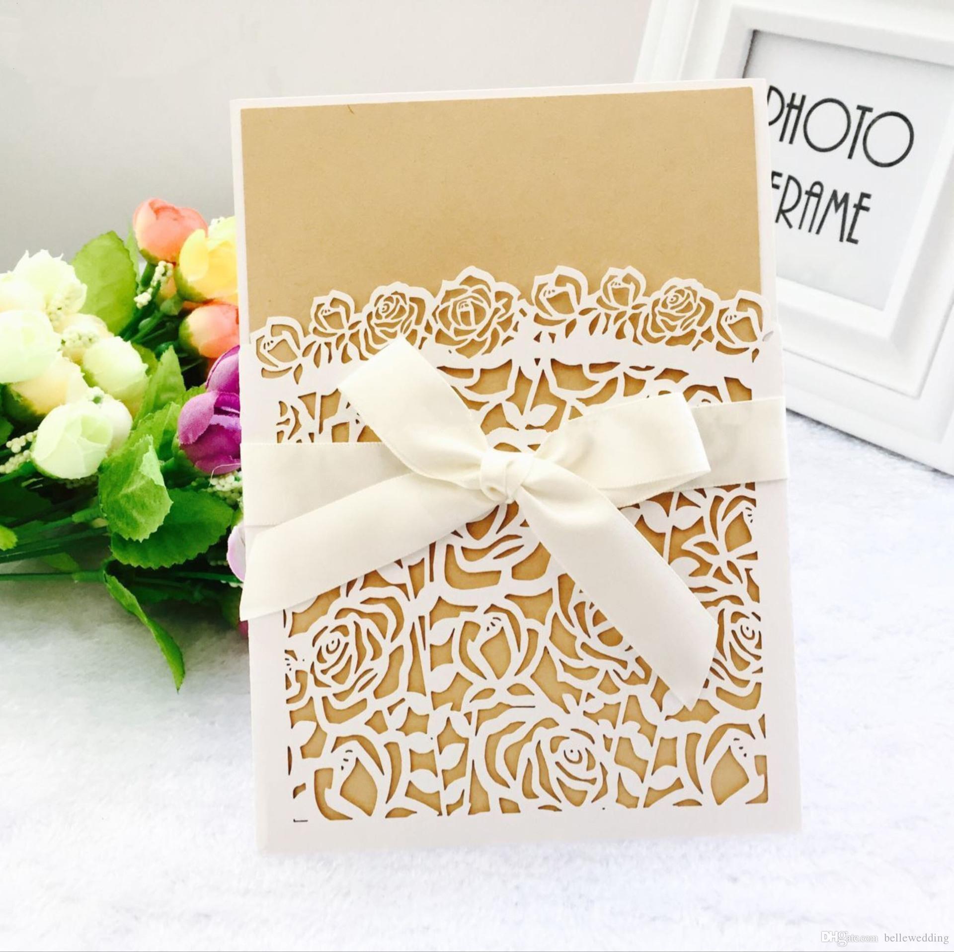 Laser geschnittene Hochzeits-Einladungen Soem in den multi Farben fertigte Höhle mit Blumen gefaltete personalisierte Hochzeits-Einladungskarten BW-HK69