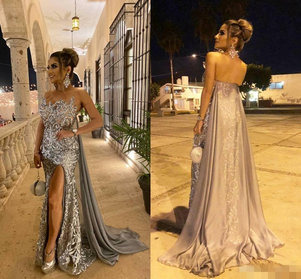 2020 del gris de plata de la sirena vestidos de baile de las lentejuelas cuentas apliques con el cabo de gasa por encargo Vestido de noche desgaste ocasión formal del tamaño extra grande