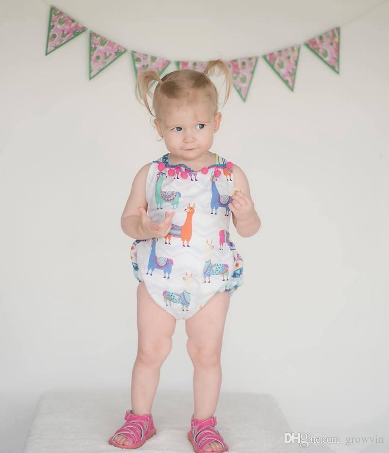 INS الطفل الوليد فتيات لطيفات الألبكة يونيكورن طباعة الصيف رومبير الرضع أزياء عارية الذراعين وبذلة أطفال القطن الشرابة قطعة واحدة K141