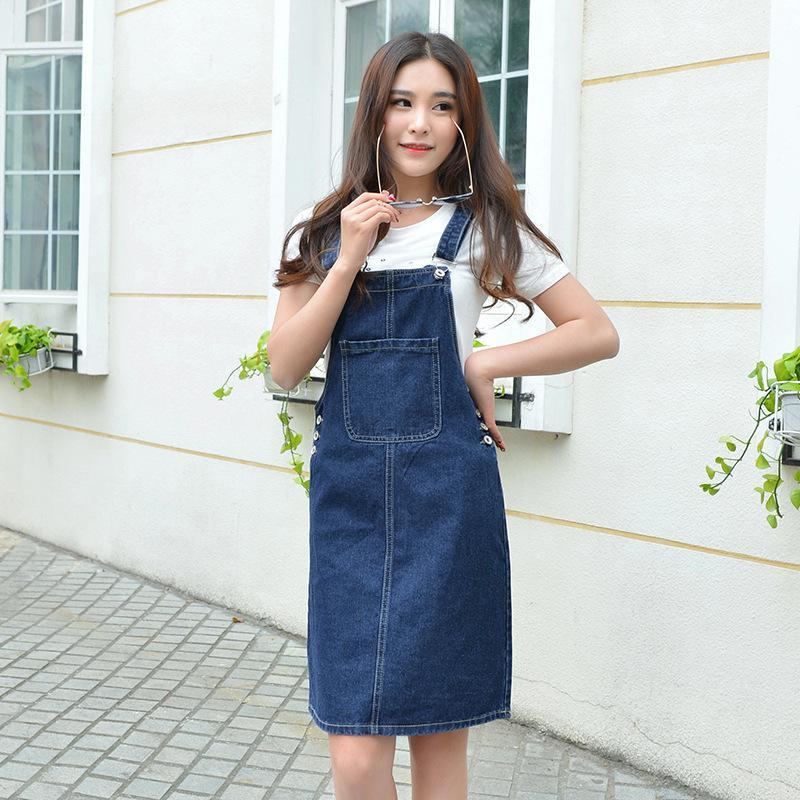 Sommer 2020 Frauen-Denim-Kleid Sundress beiläufige lose Overalls Kleider Weibliche Feste verstellbare Riemen Jeans-Kleid plus Größe 4XL T200623