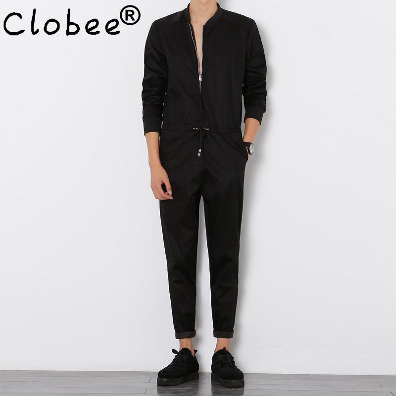 Clobee Erkek Tulum Uzun kollu tulumları Erkek Şık Serin tulumları Slim Fit Harem Pantolon Hip-Hop Pantolon Siyah Jumpsuit