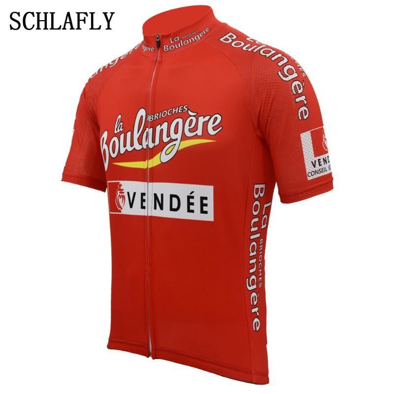Kırmızı bisiklet forması yaz kısa kollu bisiklet aşınma forması yol forması bisiklet giyim schlafly üst Retro vendee