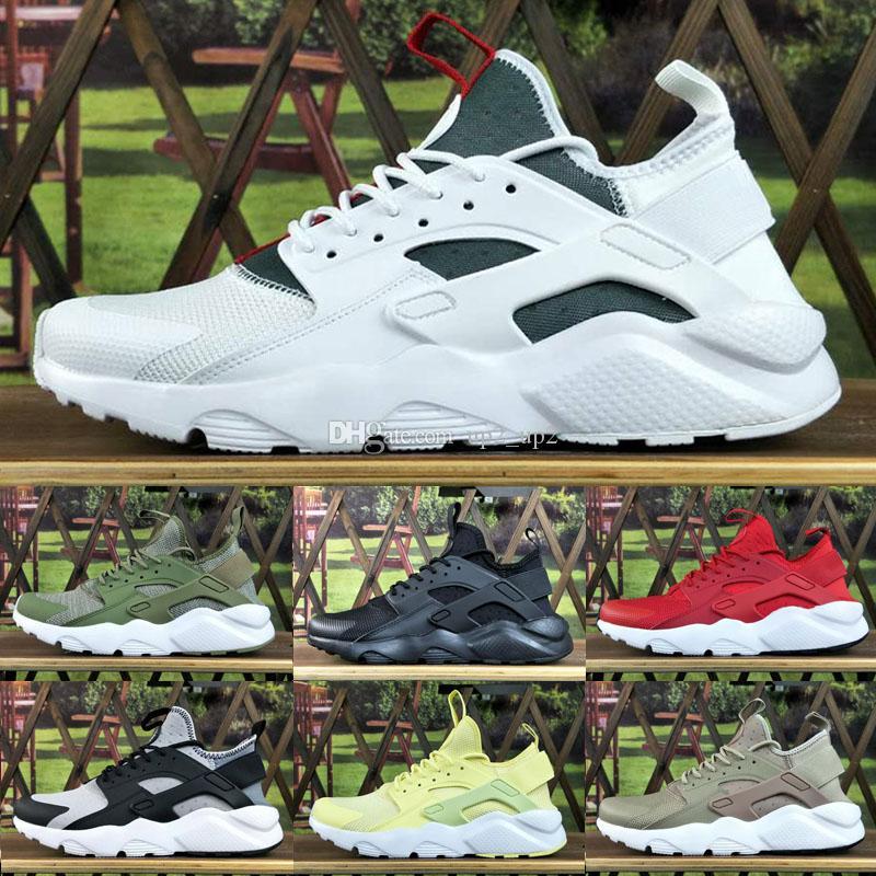 Erkekler Kadınlar Huarache IV 4 Açık Ayakkabı Gri Kırmızı Yeşil Üçlü Siyah Beyaz Mavi Eğitmenler Spor Atletizm Sneakers EUR 36-45
