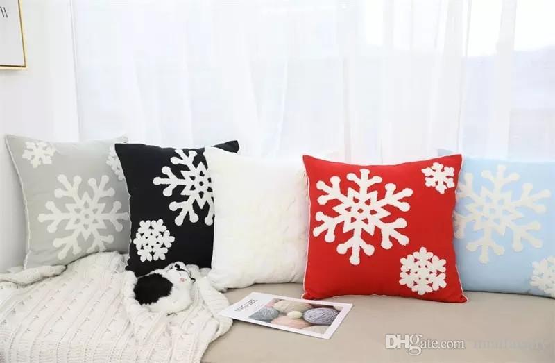 45 * 45cm 베개 케이스 광장 크리스마스 자동차 소파 쿠션 커버 3D 눈송이 타월 자수 Xmas 홈 장식 DHL 무료