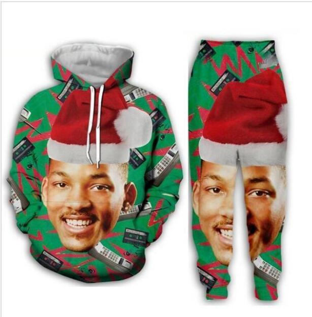 New Men/Womens Fresh Prince Christmas Funny 3D Print Fashion Tracksuits Crewneck Sweatshirt and Pants 2 Pcs Set Hoodies TT018