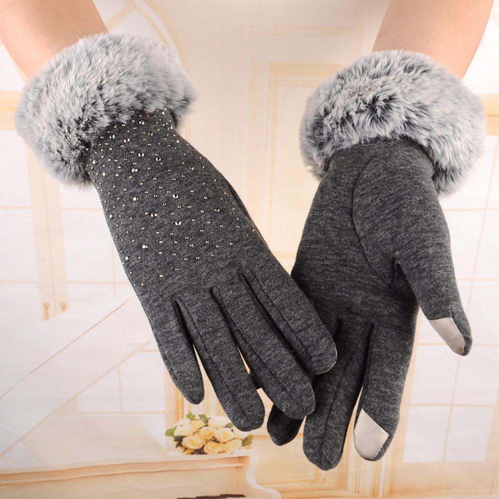 Women Full Finger Gloves Faux Fur Thicken Winter Warm Mittens Female Cashmere Gloves Hand Warmer Guantes Mujer #BF