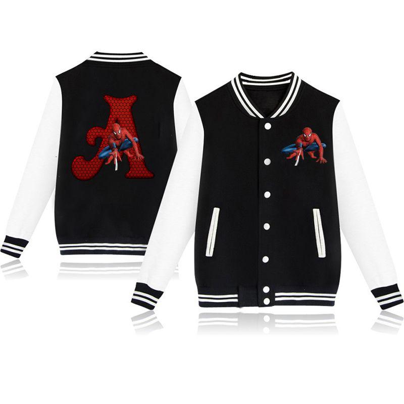 Spider-man Letter Print Toddler Jacket Baby Girl Winter Clothes Fashion Name Custom Coat Baby Baseball Jacktet Boy Outerwear
