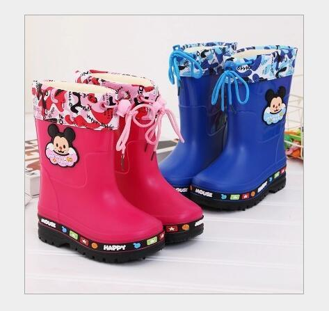 Children's Rain Boots Cute Cartoon Boys And Girls Slip Baby Shoes Overshoes Water Shoes For Children Rubber Shoes Y19051303
