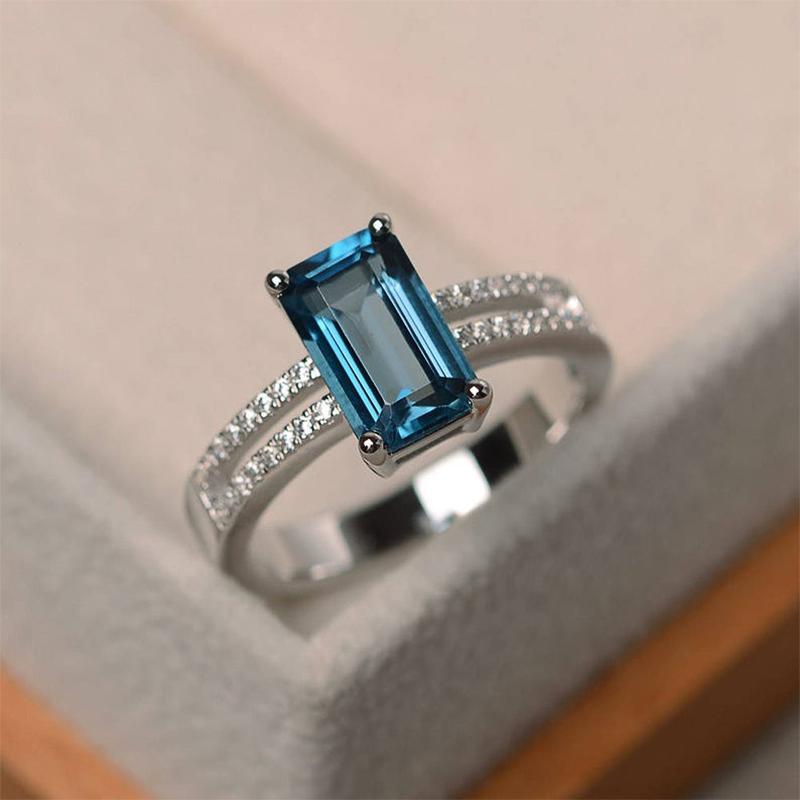 Huitan квадратный небесно-голубой камень свадебное женщин кольцо выдолбленные браслет микро-проложить Кристалл Циркон мода ювелирных изделий женский кольцо