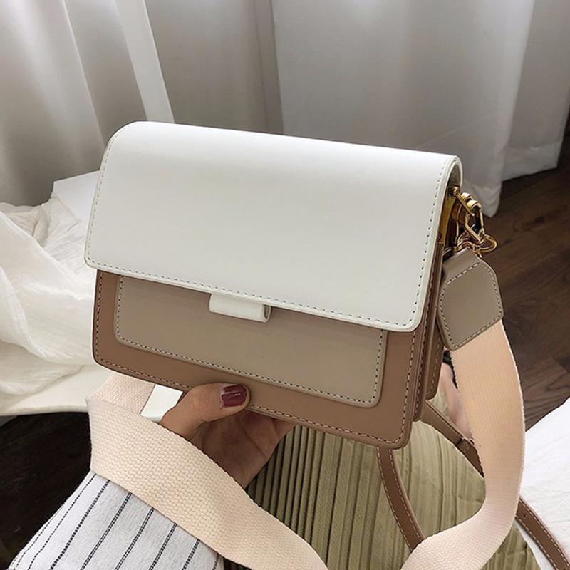 Contrasto di colore di pelle Borse Crossbody per le donne 2020 Viaggi borsa di modo Semplice Tracolla Messenger signore Croce Body Bag T200517