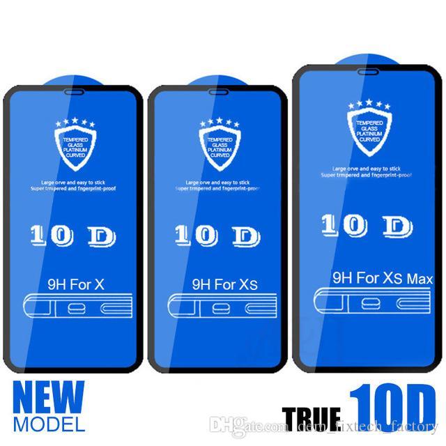 شاشة 10D غطاء كامل حامي 9H الزجاج المقسى من ألياف الكربون حامي شاشة آيفون X 6 7 8 6S زائد إكسس ماكس