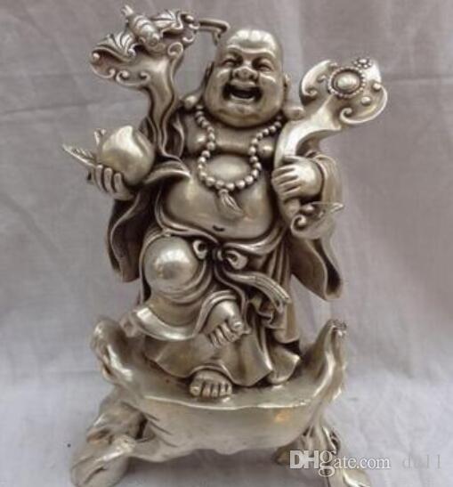 """Dekorasyon bakır gümüş fabrika satış mağazaları 12 """"Çin Gümüş Servet RuYi Mutlu Gülen Maitreya Buddha Şeftali Pirinç Heykeli"""