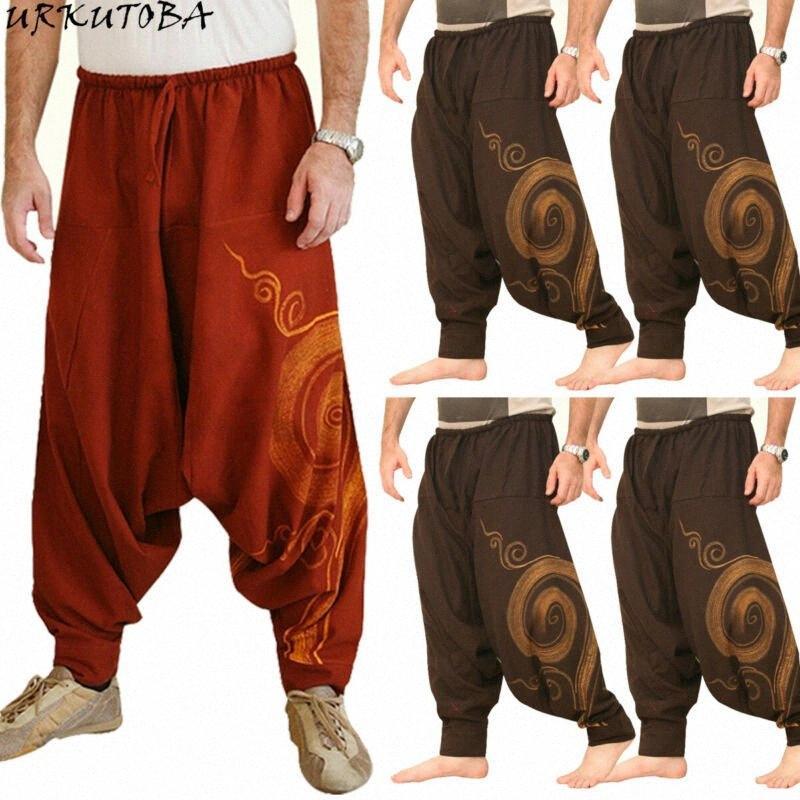 Männer Frauen Cotton Harem Pants Yoga Hippie Tanz Genie Hosen Boho r6x9 #