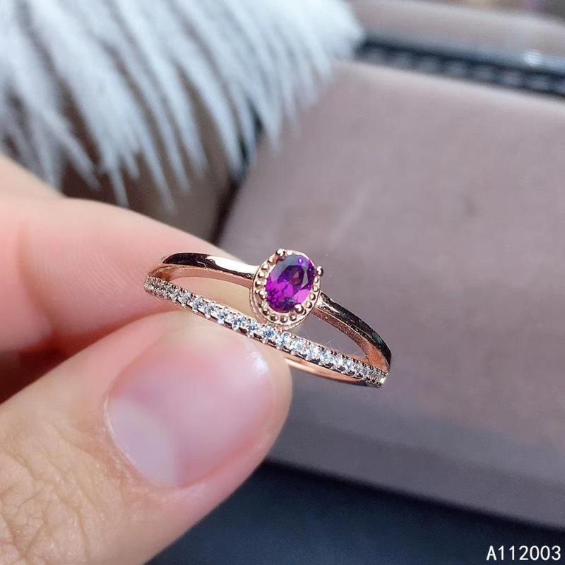 Kjeaxcmy المجوهرات الجميلة 925 sterling silver inlaid natural gemstone Garnet new Female ring Beautiful Support Detection