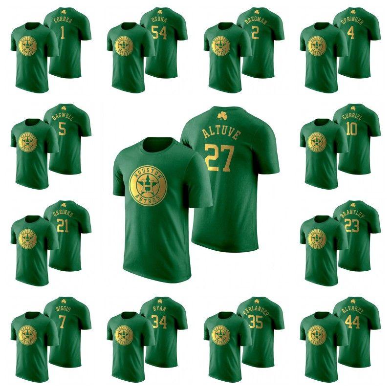 2020 St. Patrick's Day T-shirts Jose Altuve Yordan Alvarez Alex Bregman George Springer Zack Greinke Michael Brantley Carlos Correa Jersey