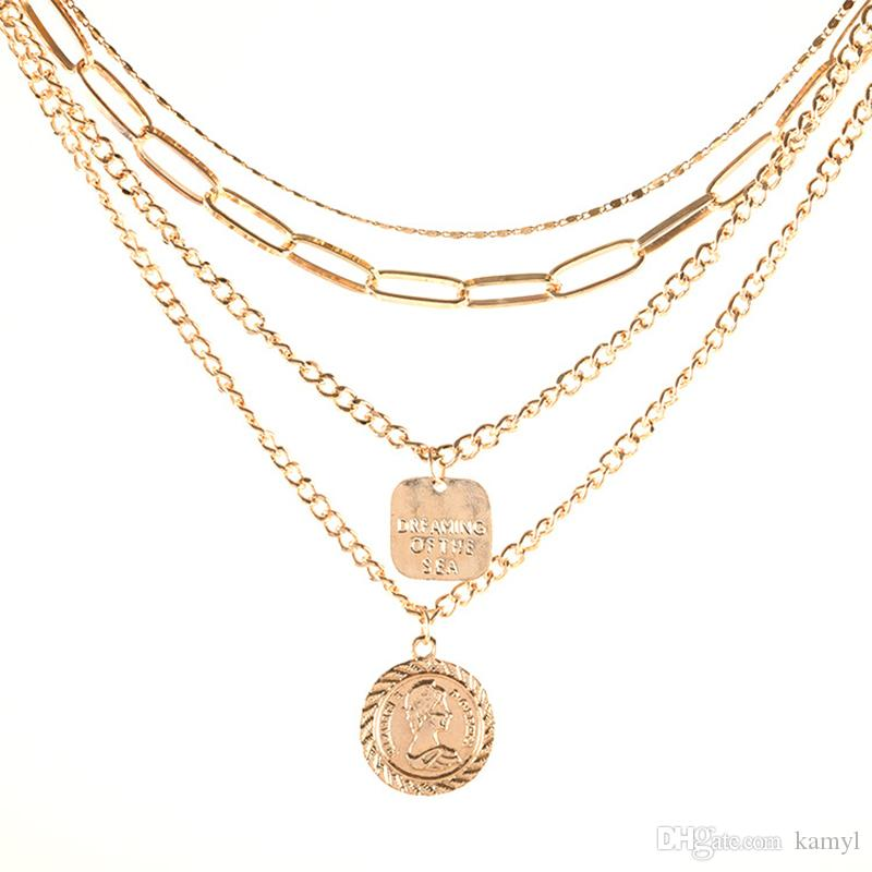 Popular European and American style, fashion metal retro tassel Multi-layer coins daily wild exaggerated avatar necklace