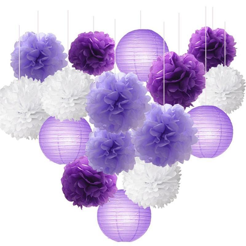16pcs Doku Kağıt Çiçekler Topu Pom Poms Lavanta Mor Temalı Parti Dekoru Bebek Duş Parti Malzemeleri için Karışık Kağıt Fenerler Craft Takımı