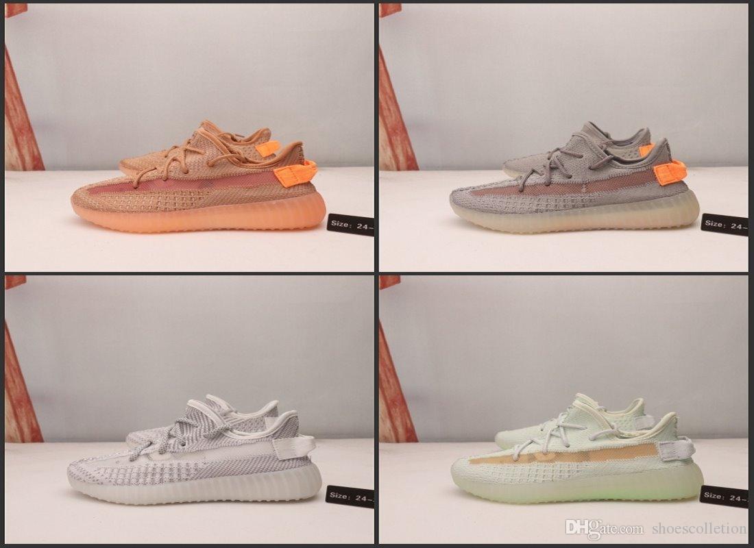 Kanye West V2 estático bebé niños zapatos Verdadera Forma Hyper Zapatos de la zapatilla corredor de la onda de arcilla BELUGA reflectantes Deportes muchacha del muchacho de las zapatillas de correr