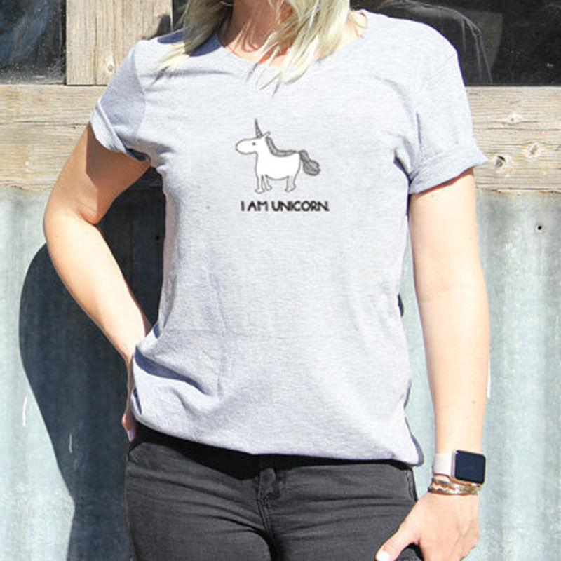 Manera de las mujeres suelta de manga corta algodón de las tapas camiseta gris con estilo ocasional de las mujeres flojas de la historieta camisetas