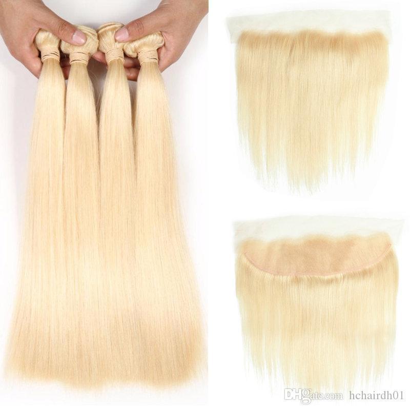 Бразильские девственные волосы шелк Прямой 4 пучка с закрытием 613 белокурых волос пучки с фронтальным от уха до уха кружева фронтальные бразильские девственные волосы