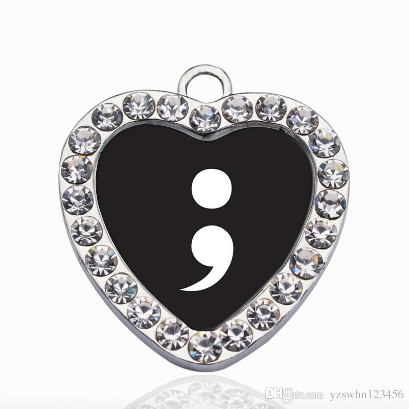 SEMICOLON MOVIMIENTO DEL CÍRCULO CHARM Vintage Heart Charms colgantes moda Charm Necklace para mujeres hombres joyería de DIY