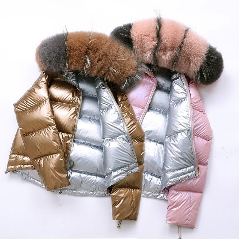 Kış Coat Big Kürk Yaka Gümüş Altın ördek Aşağı Ceket Kadın Çift Kapşonlu Su geçirmez Parkas Dış Giyim T191028 Wear Taraflı