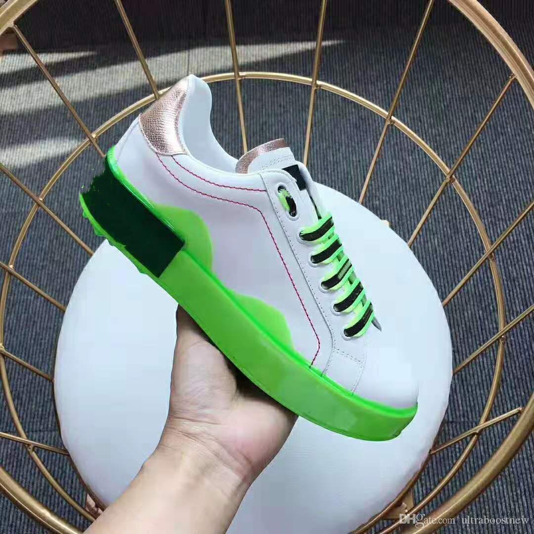 Yeni Moda Portofino Erime Tasarımcı Ayakkabı Erkekler Kadınlar Hakiki Deri Patchwork Handpainted Graffiti Düşük Üst Paten Sneaker Rahat Ayakkabılar