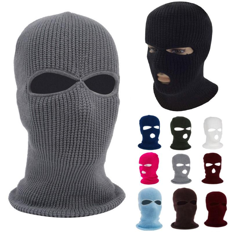 Faccia calda Knit 3 fori maschera da sci Maschera Passamontagna Hat Viso Beanie della neve di inverno del casco del motociclo Cappello HH9-2975