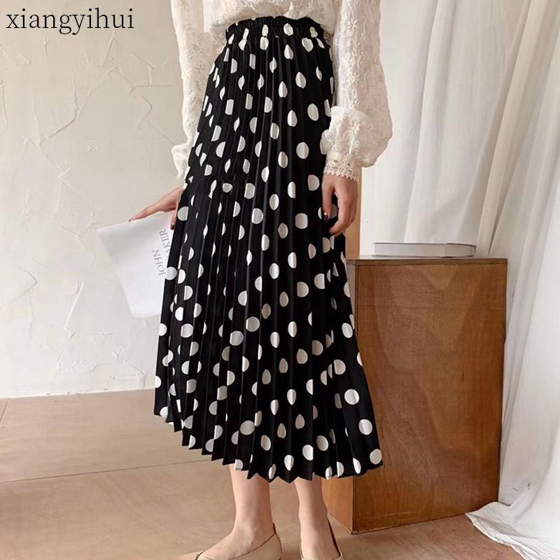 Горошек шифон длинная юбка для женщин 2020 новый летний эластичный Высокая Талия плиссированные женские белые черные юбки винтажная одежда