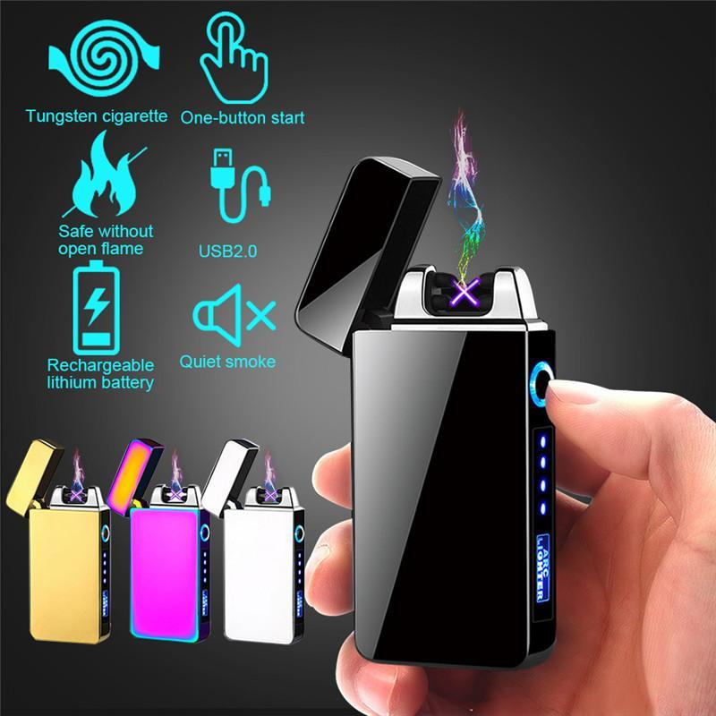 Высококачественный новый двойной АРК Электрический USB зажигалка аккумуляторная Плазменный ветрозащитный Pulse беспламенной зажигалки Красочный Charge USB зажигалка