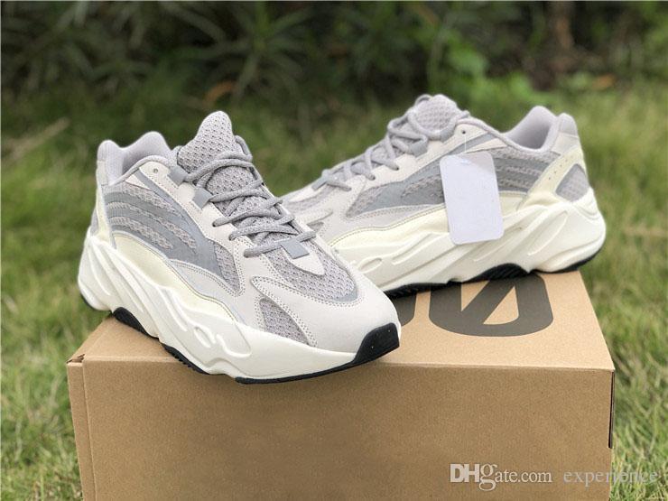 2019 Lanzamiento Auténticos Originales 700 V2 Estático 3 M Reflectante Vanta Wave Runner Gris Sólido Kanye West Hombres Mujeres Zapatillas Zapatillas EF2829
