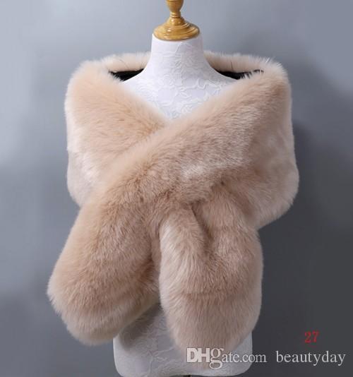 겨울 가짜 모피 결혼식 신부 랩 따뜻한는 무도회 저녁 파티 자켓 여성 자켓 숄 20 색상 무료 크기 65 ''* 13 ''클린 증권