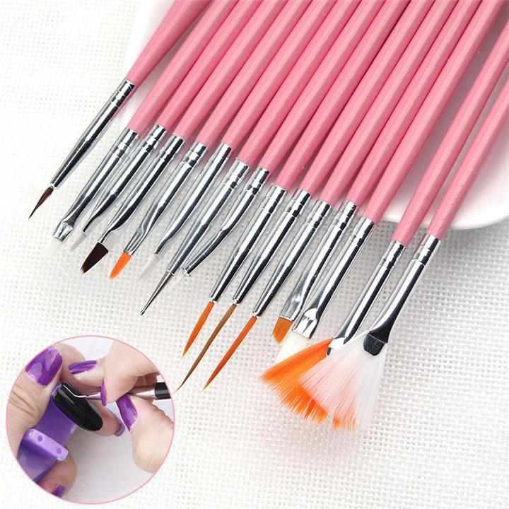15pcs/Set Professional UV Gel Nail Art Brushes Set Nail Design Polish Painting Drawing Pen Manicure Nail Tools