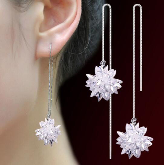 новый женский ледяной цветок ушной гвоздик женский антиаллергенный хан издание модные серебряные серьги женская линия уха модные дизайнерские серьги