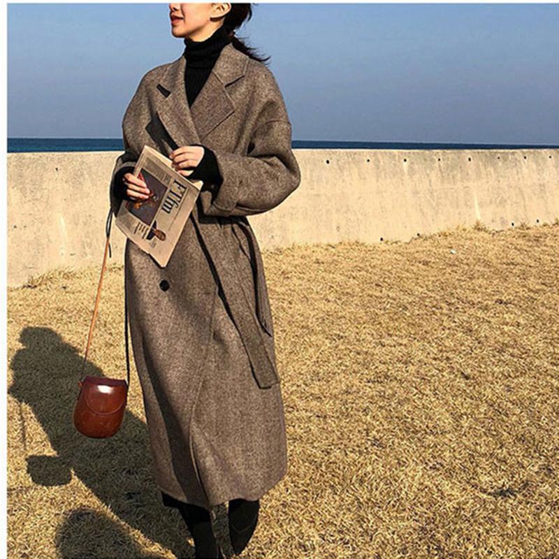 Frauen-Winter-langer Mantel Outwear Wollmantel lose Plus Size Strickjacken Langarm Femme Elegante Gürtel Mantel Y191206