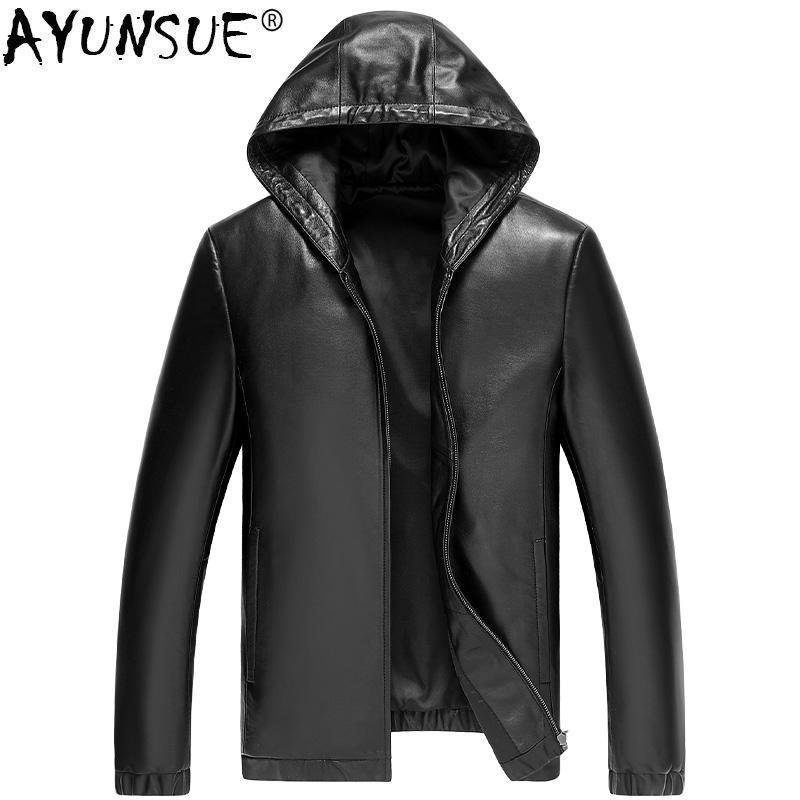 AYUNSUE 봄 가을 정품 가죽 재킷 남자 양피 코트 후드 짧은 오토바이 폭탄 재킷 남자 가죽 코트 KJ1625