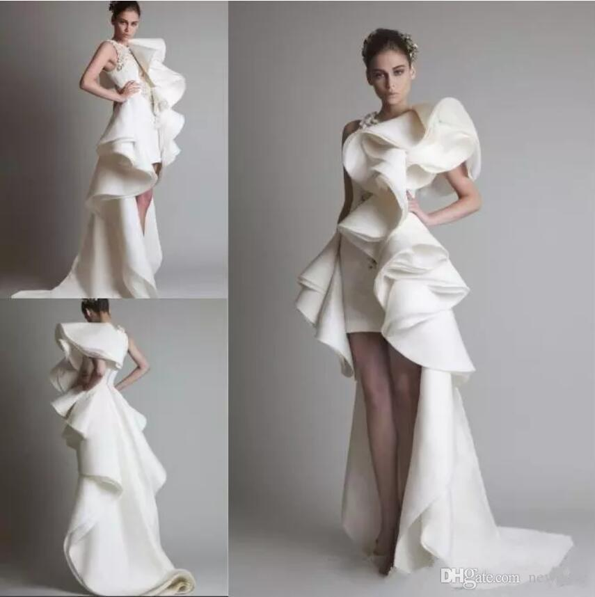 Krikor Jabotian 디자인 된 댄스 파티 드레스 원 숄더 아플리케 주름 장식 주름 하이 - 로우 오르간 회화 드레스 화이트 상아 장식 신부 가운