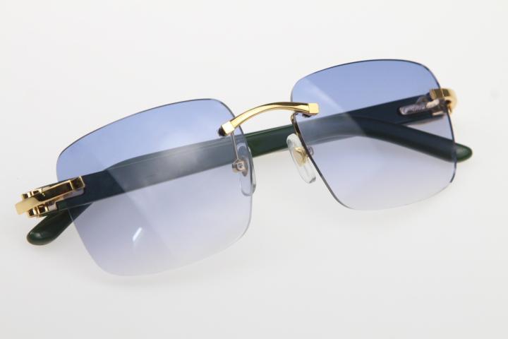 공장 도매 무테 선글라스 8300816 선글라스 녹색 판자 남여 높은 품질 선글라스 C 장식 골드 프레임 안경을 격자 무늬
