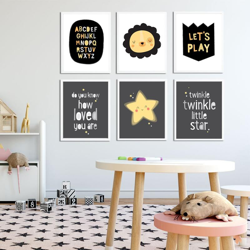 Nursery Wall Art Poster Twinkle Little Star Quotes Canvas Canvas King Lion Print Picture Nordic Kid Room Decor para el hogar