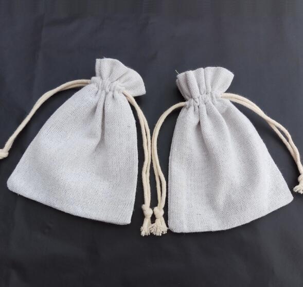 100pcs linho Drawstring Canvas Sack Cotton serapilheira Bag Arroz presente cordão Bundle personalizado