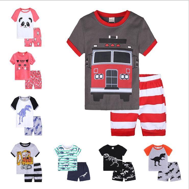 Детская одежда Set Детская одежда Комплекты для младенцев Мальчики Одежда Мультфильм Лето с коротким рукавом Футболка + шорты Детские Мальчики Нижнее