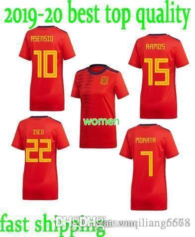 mejor calidad Mundial Mujer Copa España # 15 Ramos de fútbol camisa de Jersey 19 20 22 Inicio Red ISCO de fútbol Uniforme ASENSIO PIQUE A.INIESTA chica de fútbol