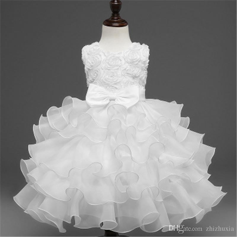 New Fashion Personality Design Girl's Dress Luxury Hot Sale Children's Flower Dress Christmas Gift Solid Color Party Beautiful Dresses