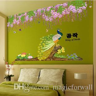 Flores de color púrpura Borla Hojas verdes Pegatinas de pared Decoración para el hogar Pavo real en las ramas de los árboles Mural Póster Autoadhesivo Papel tapiz